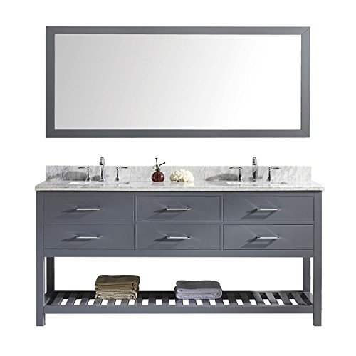 "Virtu USA MD-2272-WMSQ-GR-011 Caroline Estate 72"" Double Bathroom Vanity in Grey with Marble Top and Square Sink with Brushed Nickel Faucet and Mirror, 72 inches, Cool Gray"
