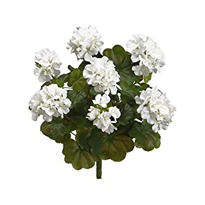 "19"" Water-Resistant Geranium Bush x9 WHITE (Pack of 6) 16"