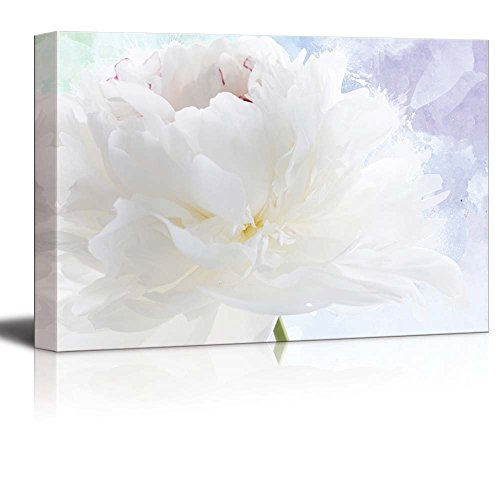 wall26 Beautiful White Flower on a Blue and Purple Watercolor Background - Canvas Art Home Decor - 24x36 inches