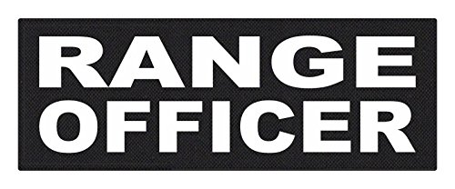 TACTICAL IDENTIFICATION PATCHES Range Officer - 11x4 - White Lettering - Black Backing - Hook Fabric