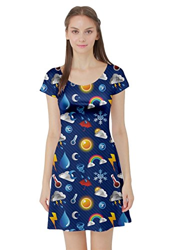 CowCow Womens Blue Weather Pattern Over Blue Layered Short Sleeve Dress, Blue - 4XL -