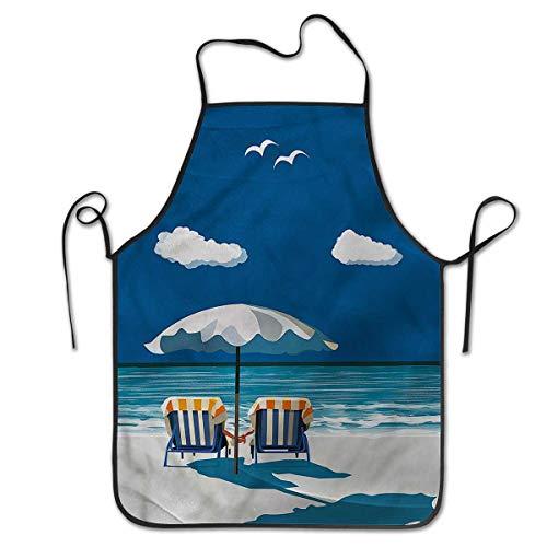 Unisex Kitchen Bib Cooking Apron Coastal Couple on Deck Chairs BeachProfessional barbecue, baking, men's cooking women ()