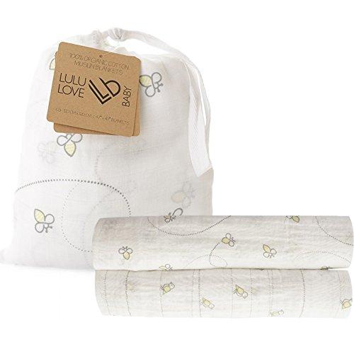 - 100% Organic Cotton Muslin Swaddle Blanket Set