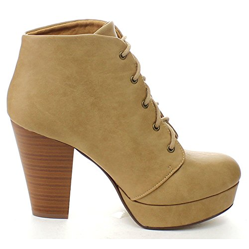 Soda US M Platform Lace Women's Ankle Chunky Ankle up 8 Heel Agenda Camela Camel Bootie 77ROw