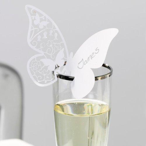 Namenskarten 'Schmetterling' für Gläser, weiß, 10 St. -Namenskarte mit Schmetterling in Weiß Talking Tables