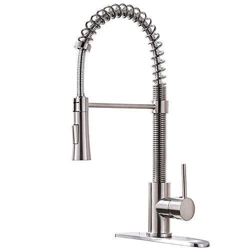 3, KINGO HOME Lead Free Modern Stainless Steel Single Handle Pull Down  Sprayer Spring Brushed Nickel Kitchen