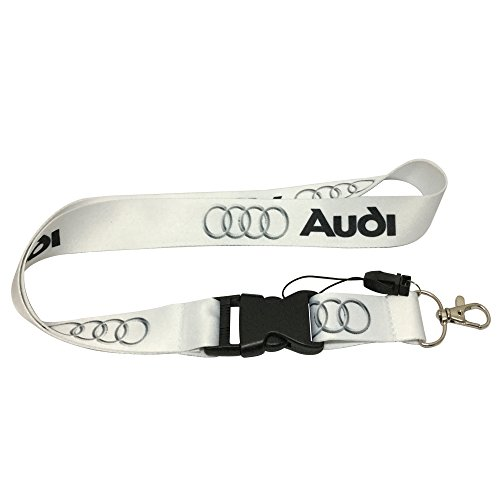 1pcs White Color USA Ship New Quick Release Neck Strap Lanyard Keychain Keyring Car Keys House Keys ID Badges Card For Audi Design