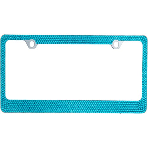 BLVD-LPF OBEY YOUR LUXURY  Popular Bling 7 Row Blue Color Crystal Metal Chrome License Plate Frame with Crystal Screw Caps - 1 Frame ()