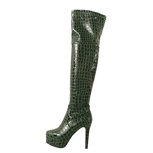 Women Knee High Snake Shoes,Sunyastor Popular Leather Round-Toe Stiletto Heel Side Zipper Boots High Heel Boot