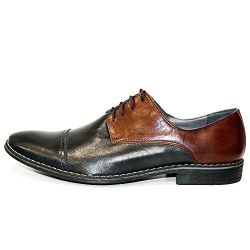 Modello Galanto - Handmade Italiennes Cuir Pour Des Hommes Brun Chaussures Oxfords - Cuir de vachette Cuir souple - Lacer