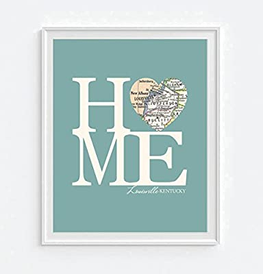 Louisville Kentucky Home Vintage Heart Map Art Print, UNFRAMED, Customized Colors, Wedding gift, Christmas gift, Engagement Anniversary Valentines day Housewarming Guestbook gift, ALL SIZES