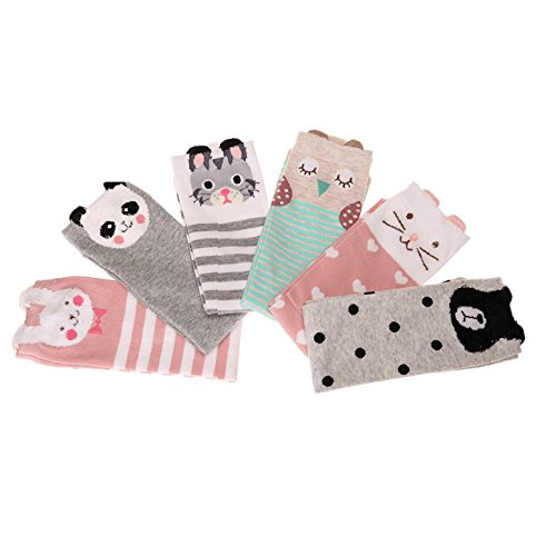 VWU 6 Pack Girls Animal Tube Socks Cotton Stocking Socks Knee High Socks 3-12 Years Old Cartoon 6 pack Girl Animal Sock Long Socks Child Children Cute Socks Knee High Socks Over The Calf Girl Cat Gift