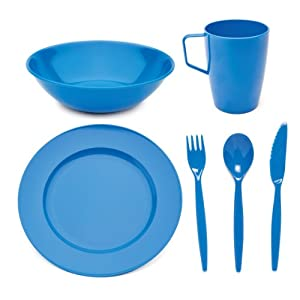 Harfield Scout and Girl Guide Polycarbonate Tableware Set – Plate, Bowl, Mug & Cutlery – Med Blue