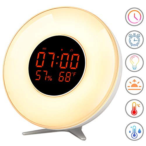 Wake Up Light, Sunrise Simulation Alarm Clock - Easy Operation Feature, As Bedside Night Light With 7 Colors Atmosphere Lamp,10 Levels Brightness, Snooze Function,5 Natural Sounds For Children adults