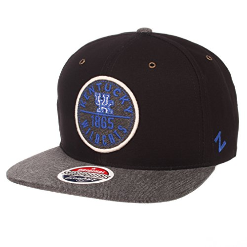 Zephyr NCAA Kentucky Wildcats Men's Admiral Snapback Hat, Adjustable, Black/Gray