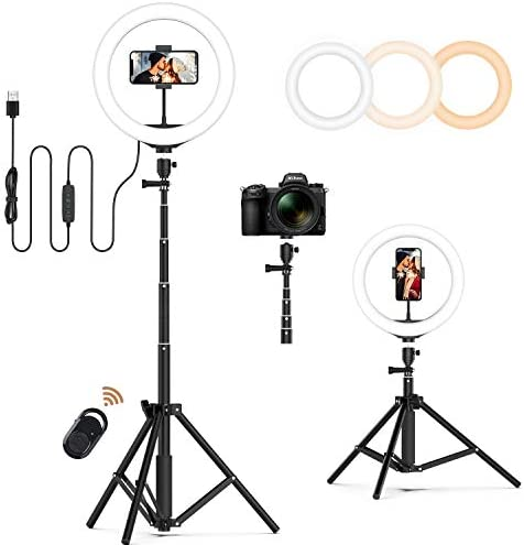 "Jeemak 10"" Selfie Ring Light with Adjustable Tripod Stand and Cell Phone Holder Bluetooth Remote for Live Stream/ Makeup/ YouTube Video/ Photography, Compatible with iPhone & Android"