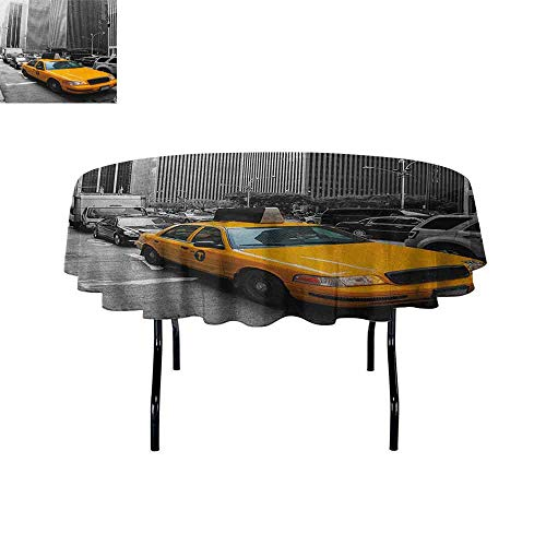 DouglasHill City Waterproof Anti-Wrinkle no Pollution Yellow Cab in New York City Touristic Attractions Traffic Road Photography Table Cloth D47 Inch Marigold Grey Black -