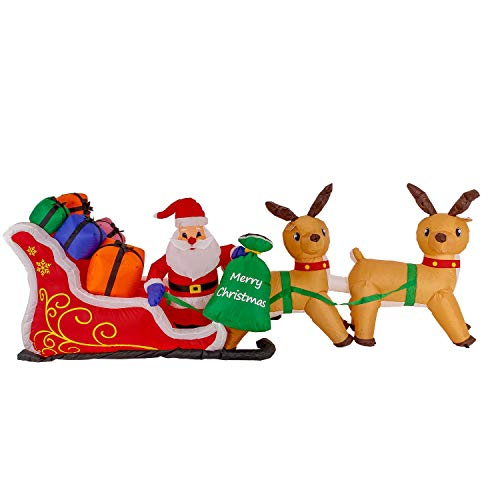 Christmas Masters Giant 10 Foot Long Inflatable Santa Claus On Sleigh with Reindeer and His Gift Bag with Presents LED Lights Indoor Outdoor Yard Lawn Decoration - Cute Fun Xmas -