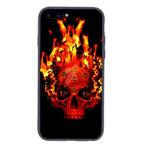 CHUFZSD Supernatural Skull Flame iPhone 7/8 Plus Case Soft Flexible TPU Anti Scratch Shock-Proof Protective Shell Compatible Phone Case Cover (5.5 -