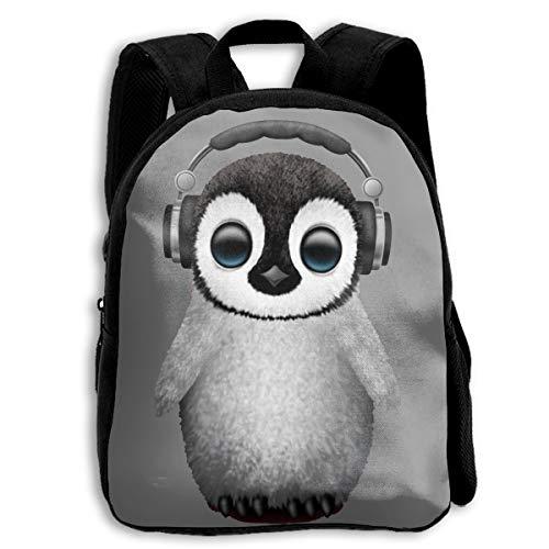 Crazy Popo Children Cute Baby Penguin Dj Wearing Headphone Preschool Shoulder School Bag