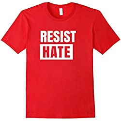 Mens Resist Hate Political Protest Anti Racism Equality T-Shirt Medium Red