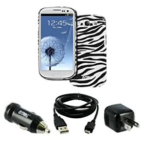 EMPIRE Samsung Galaxy S III / S3 Stealth Design Case Cover (Black and White Zebra Stripes) + USB 2.0 Data Cable + USB Wall Charger Adapter + USB Car Charger Adapter [EMPIRE Packaging]