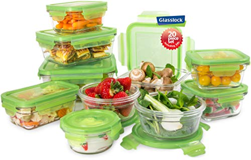 - Tempered Glasslock Storage Containers 20pc set Green Lids Microwave & Oven Safe Airtight Anti Spill Proof