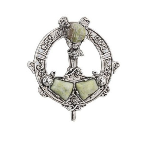 (Tara Brooch Rhodium Plated & Connemara Marble Irish Made)