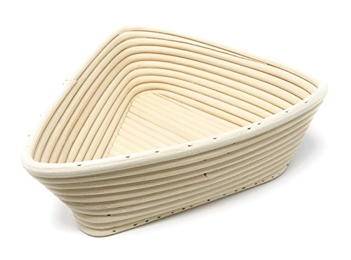 Bread Experience Triangle Banneton Brotform Rattan Proofing Bread Rising Basket 8.5 inch with Instruction Card Triangle Shaped Bowl