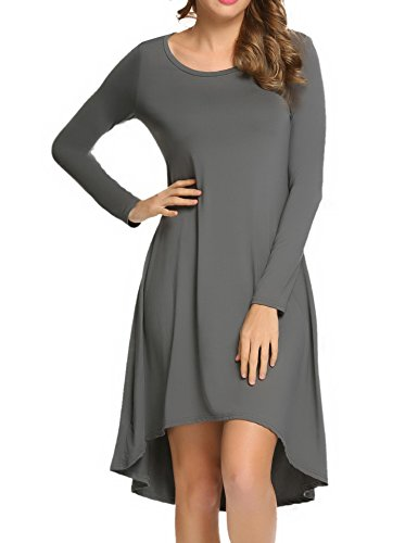 Misakia Women S Asymmetrical Loose Long Sleeve Round Neck Tunic Shirt Dress Gray M