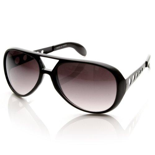Elvis TCB - Large Elvis King of Rock Rock & Roll TCB Aviator Sunglasses (Black) (Elvis Sunglasses High Quality)