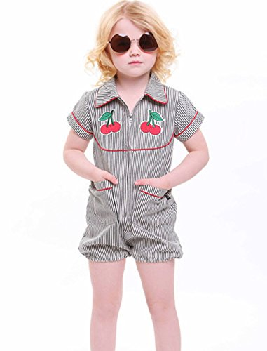 Girls clothes shorts Toddler Rompers stripe Short sleeve Jumpsuits baby Outfits (1-2Year)