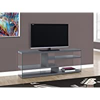 Monarch Specialties I 2691 Glossy Grey with Tempered Glass TV Stand, 60