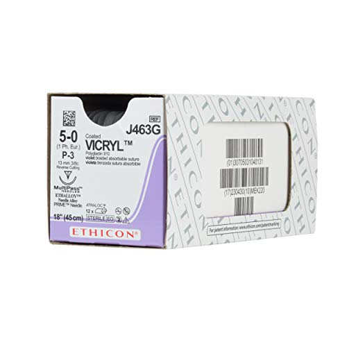 Ethicon Coated VICRYL (polyglactin 910) Suture, J463G, Synthetic Absorbable, P-3 (13 mm), 3/8 Circle Needle, Size 5-0, 18