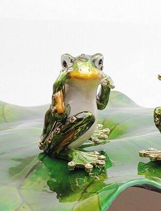 Miniature Frog Box Czech Crystals Figurine Toad Keepsak Frog Frog Hear No (Crystal Frog Figurine)