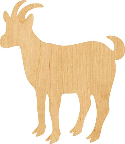 Goat Laser Cut Out Wood Shape Craft Supply - Woodcraft (1/8 Inch, 20