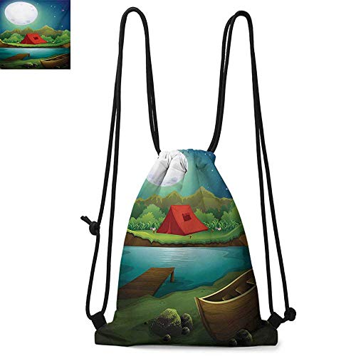 CampingDurable Drawstring BackpackTent by the Lake with Full Moon Outdoor Activity Cartoon Doodle Style WoodlandConvenient choice for daily activities W13.8 x L17.7 Inch Multicolor