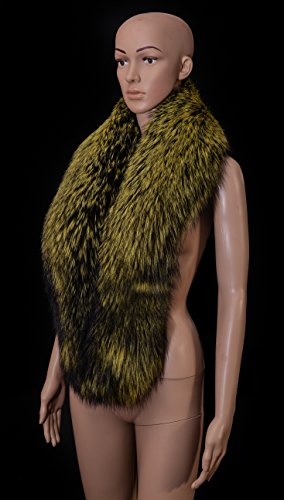 Royal Saga Furs Yellow Silver Fox Fur Winter Shoulder Wrap Scarf Boa Stole by Your Furrier