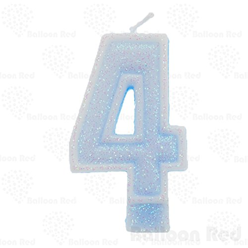 "Numerals Birthday Party Cake Candle & Happy Birthday Cake Topper, Glitter Blue, Number ""4"", Four from Balloon Red"