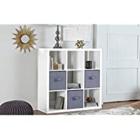 Better Homes and Gardens 9-Cube Versatile Organizer Storage Bookcase (White Lacquer)