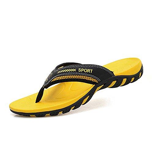 Amarillo Clásico de Antideslizantes de de Playa de Cuero Hombre Chancletas Masaje Zapatos Botia Verano Zapatillas SXPw6xq