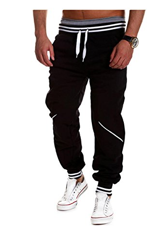 Mo Good Men's Casual Baggy Good Air Permeability Harem Joggers Sweatpants (L, Black2)