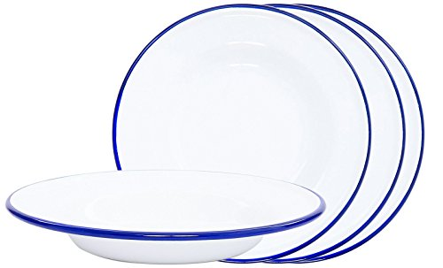 Crow Canyon Enamelware Round Dinner/Salad/Serving Plates, Classic Tableware - Set of 4 - Solid White with Blue Rim Color, 8 Inches (4 Solid Rim Dinner Plates)
