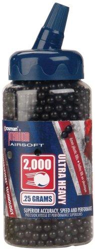 Crosman 6mm plastic airsoft BBs, 0.25g, 2000 rds, black
