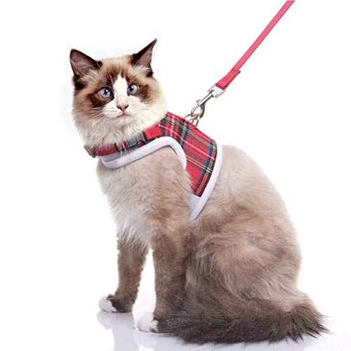 EXPAWLORER Escape Proof Cat Harness with Leash, Classic Plaid Adjustable Soft Mesh Kitten Harness Vest for Cats and Small Dogs Walking Medium