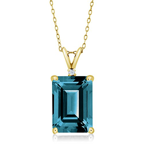 Gem Stone King 8.52 Ct Emerald Cut London Blue Topaz 18K Yellow Gold Plated Silver Pendant