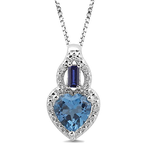 Blue Topaz Necklace with Diamond and Created Blue Sapphire Accent in Sterling Silver ()