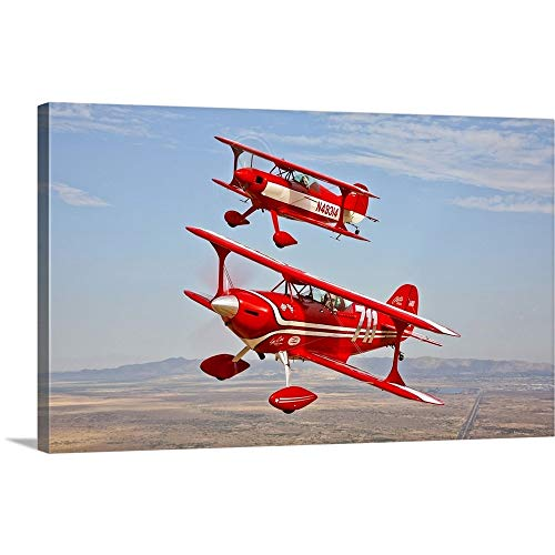 GREATBIGCANVAS Gallery-Wrapped Canvas Entitled Two Pitts Special S-2A Aerobatic biplanes in Flight Near Chandler, Arizona by Scott Germain 48