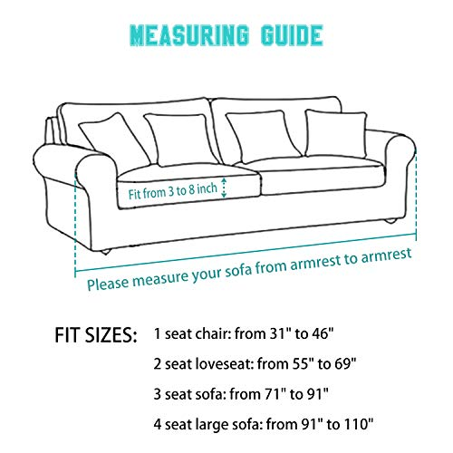 Large Sofa Cover with Separate Seat Cushion Cover(2 Pieces Set) - Water Repellent,Knitted Jacquard,High Stretch - Living Room Couch Slipcover/Protector/Shield for Dog Cat Pets(4 Seater Sofa,Teal) by DEZENE (Image #6)