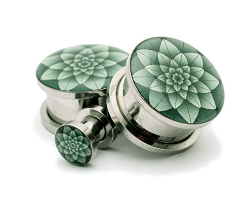 Screw on Plugs - Green Lotus Picture Plugs - Sold As a Pair (6g (4mm)) - 10g Plugs Body Jewelry